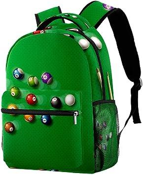 LORVIES - Mochila de billar, póster de billar, 8 bolas, casual, mochila de hombro, bolsa de viaje para estudiantes escolares, bolsas de viaje: Amazon.es: Equipaje