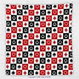 59 x 59 Inches Casino Decorations Fleece Throw Blanket Card Suits Advertising Leisure Luck Gaming Entertainment Repeat Illustration Blanket
