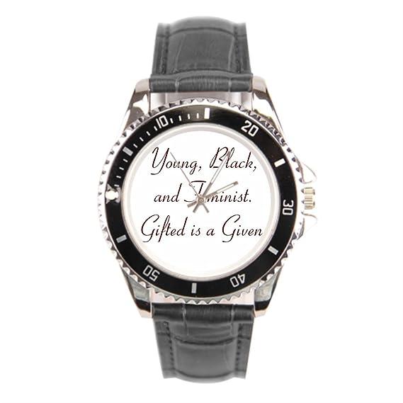Barato Relojes de pulsera. Negro feministas correa de piel Para Hombre Relojes