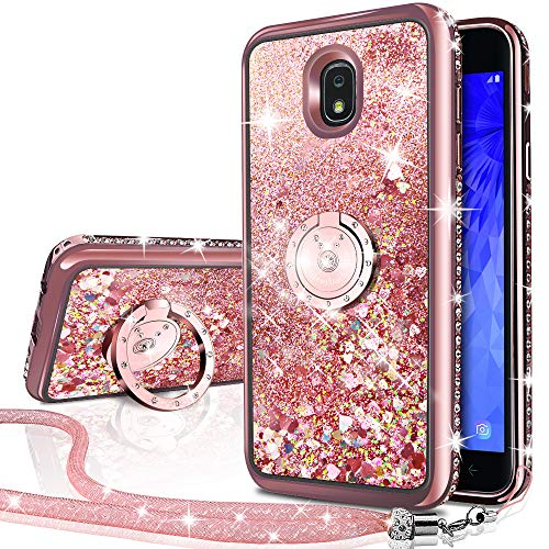 Galaxy J3 2018/J3 Star/J3 Achieve/Express Prime 3/Amp Prime 3 Case, Silverback Girls Women Moving Liquid Holographic Glitter Case with Ring Stand Bling Case for Samsung J3V J3 V 3nd Gen -Rose Gold