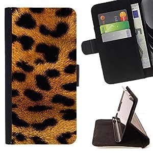 BullDog Case - FOR/Apple Iphone 5C / - / panther fur Africa animal pattern gold /- Monedero de cuero de la PU Llevar cubierta de la caja con el ID Credit Card Slots Flip funda de cuer
