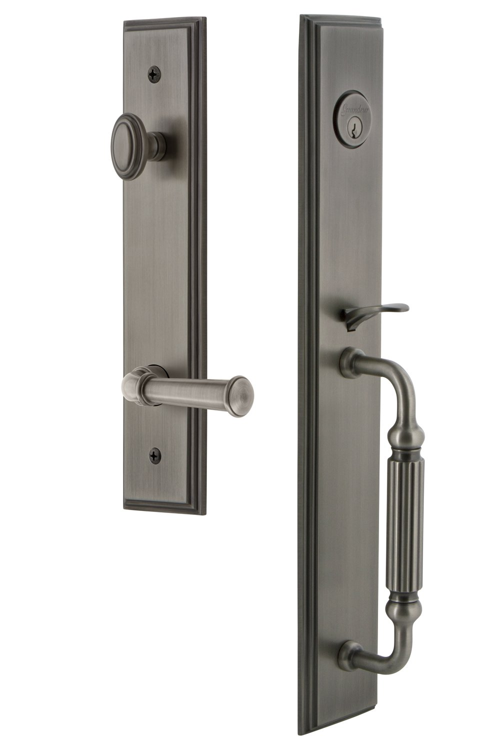 Grandeur 849890 Hardware Carre One-Piece Dummy Handleset with F Grip and Georgetown Lever in Antique Pewter Grandeur Hardware