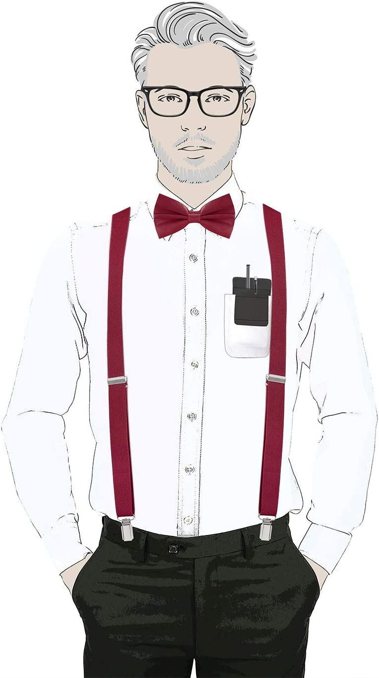 Red HDE Nerd Halloween Costume Set Suspenders w//Glasses /& Bow Tie for Men /& Women