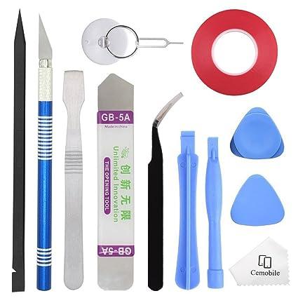 Cemobile Professional Opening Pry Tool Kit de reparación con adhesivo de cinta lateral doble para reparar iPhone iPad Macbook Samsung HTC LG SONY ...