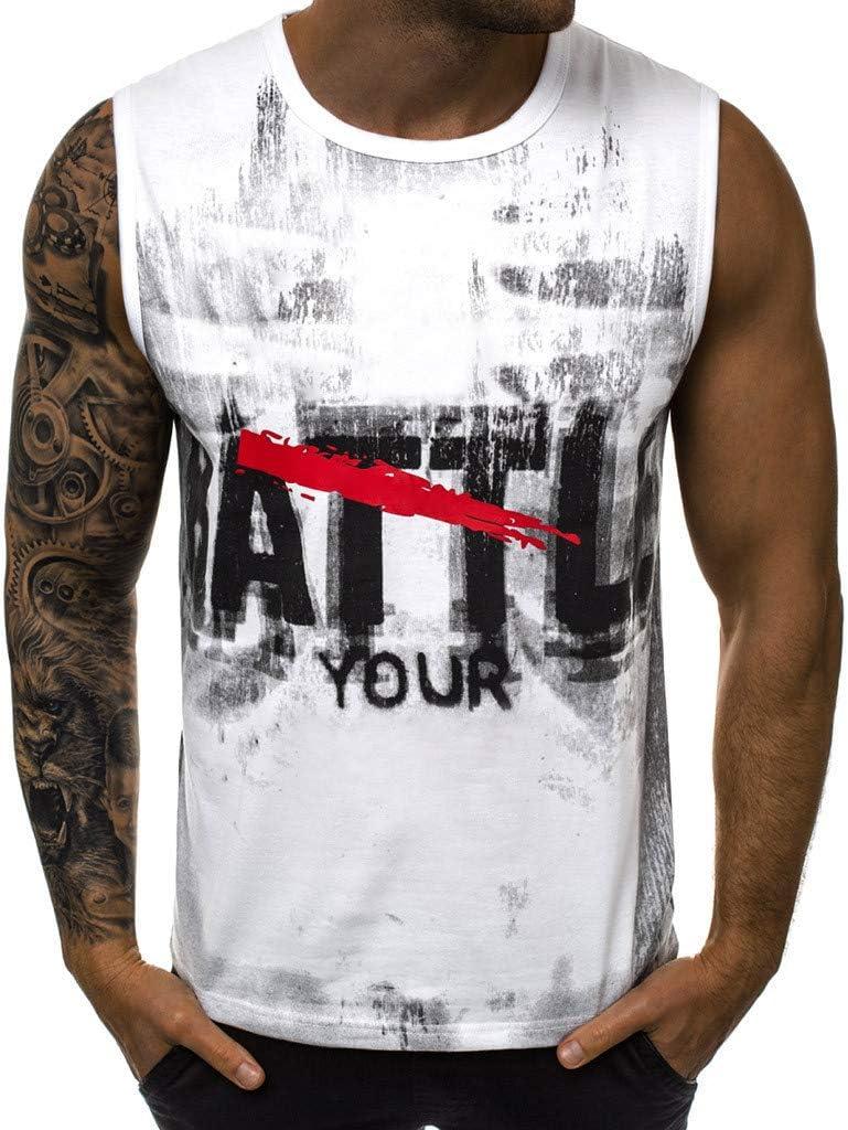 Mens Summer Vest Tronet Casual Letter Printed Sports Vest Striped Splice Large Open-Forked Male Vest