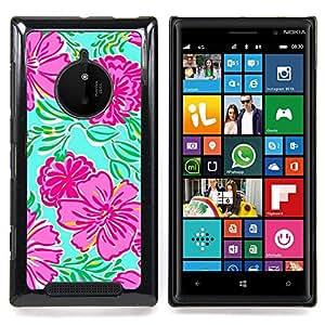 FOR Nokia Lumia 830 Queen Pattern - Begonia Floral Art Spring Nature Green - Doble capa de armadura de la cubierta del caso del protector -