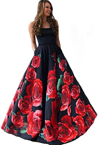 Strapless Floral Print Long Prom