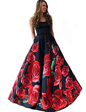 c7e47c2027a0 DarlingU Women s Strapless Floral Print Long Prom Dresses with Pockets Formal  Evening Dress Black Size 2