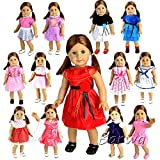 Barwa 5 PCS Random Outdoor Casual Outfit /Wear Dresses Clothes Fits 18 Inches American Girl Dolls Xmas Gift