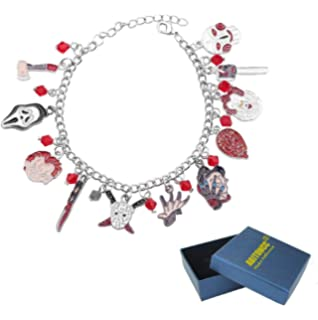 Silver Plated Charm Bracelet With Charms Horror Movie Icons Chucky Saw Freddy