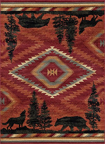 Universal Rugs NTR6800 8x11 Colorblock Wildlife Area Rug, 8' x 10', Red