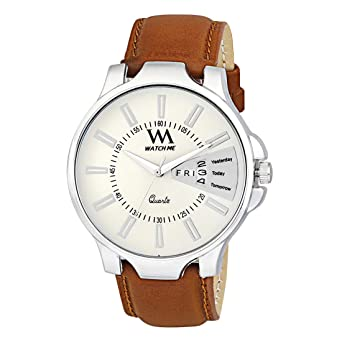 215cbad6a3b51 Buy Watch Me Quartz Movement Analogue White Dial Brown Leather Strap Men s  Watch Online at Low Prices in India - Amazon.in