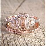 LMCIEZR Gorgeous 18K Rose Gold Filled Morganite Ring Engagement Bridal Women Jewelry Set Size 6-10 (US Code 9)
