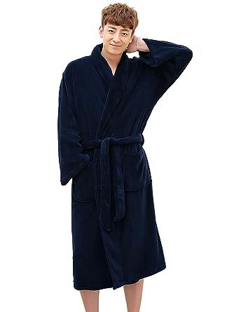 ZAKASA Bata de Pijama de paño Grueso y Suave de la Albornoz del paño Grueso y Suave de la Bata del Kimono del Chal de los Hombres: Amazon.es: Ropa y ...
