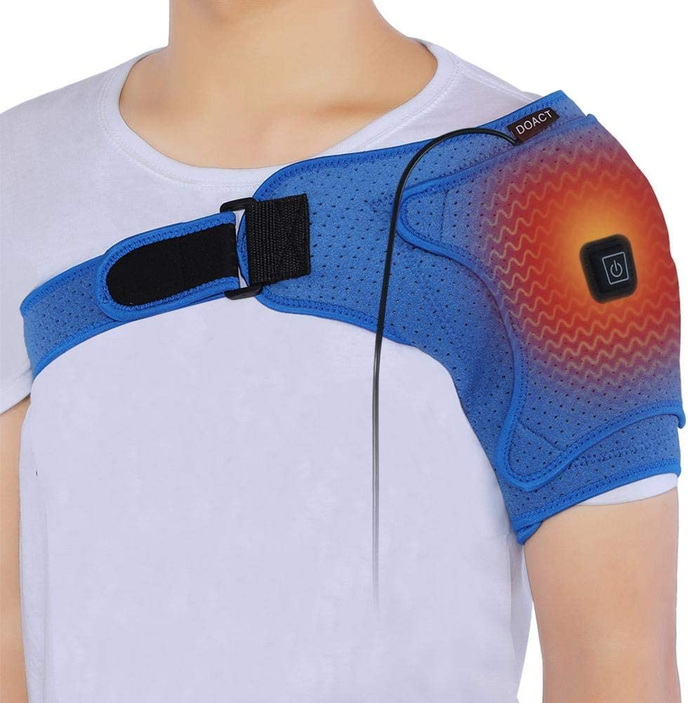 Breathable Heated Shoulder Brace Support Wrap, New Electric Shoulder Support for Shoulder Pain, Shoulder Dislocation or Pain Relief (S)