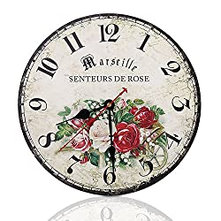 Soledi 12 Vintage Arabic numerals Design Silent Round Wall Clock Country Tuscan French (Rose)