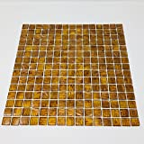 Brown Zircon Look Copper Blend Iridescent Glass Backsplash Mesh-Mounted 3/4 x 3/4'' Mosaic Tiles for Kitchen Backsplash Bathroom Wall Mosaics (10 Sheets)