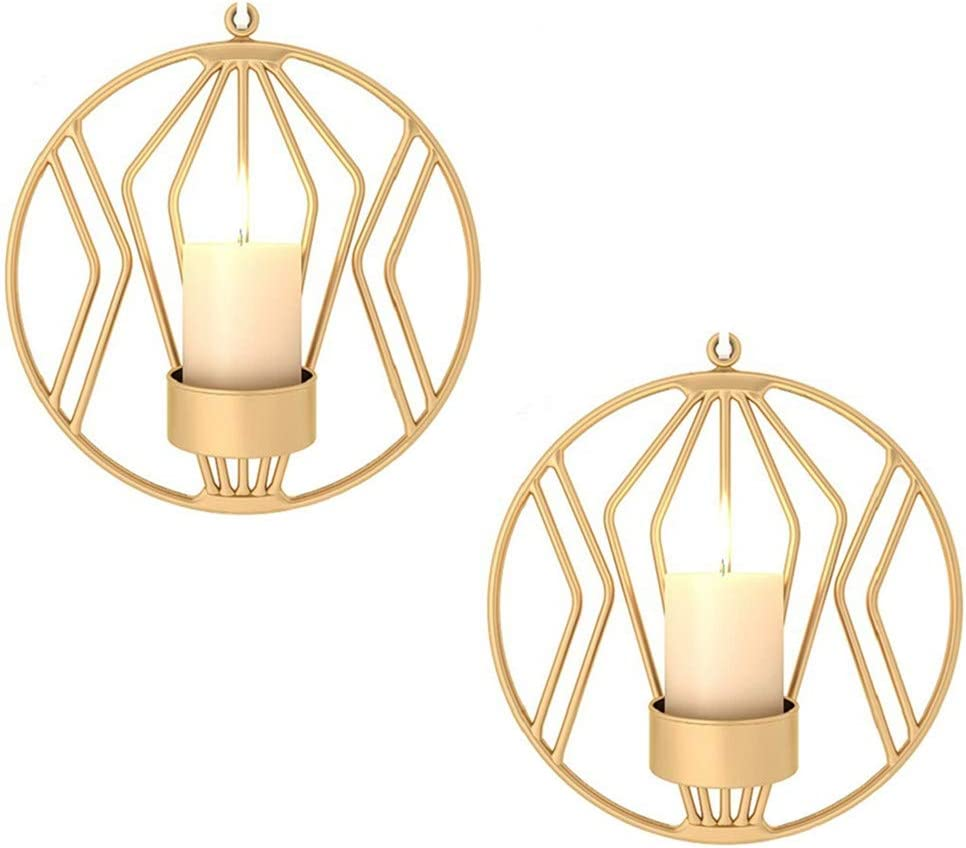 Sziqiqi Set of 2 Wall Pillar Candle Sconce, Metal Tealight Holders Wall Decorations for Living Room Bedroom, Ideal Gift for Wedding Bedroom Decor (Gold × 2)