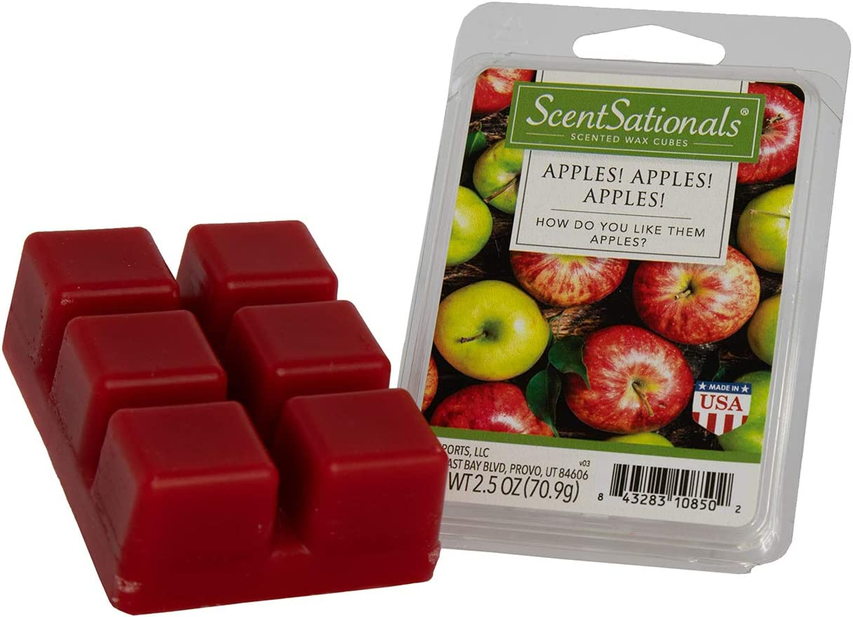 Scentsationals 032-001-40019-3PK, Apples 2.5 oz Scented Fragrant Wax Melts-3 Pack, Apples, Apples, Apples, Red