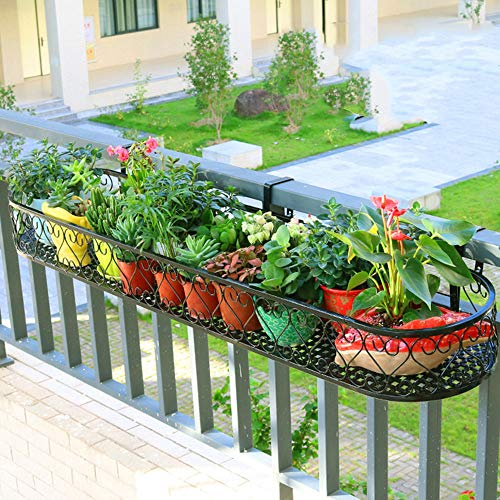 (WWJQ Plant Stands/Flower Stands-Black Metal scrollwork Design Wall Mounted Flower Plant Shelf Window Boxes planters,Strong Bearing Capacity)