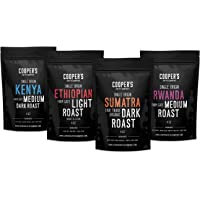 Whole Bean Coffee 4 Bag Gift Box Set, Single Origin Gourmet Coffee, Roasted Coffee Organic Sumatra Dark Roast, Kenya Medium-Dark Roast, Rwanda Medium Roast, Ethiopian Bold Roast, 1lb