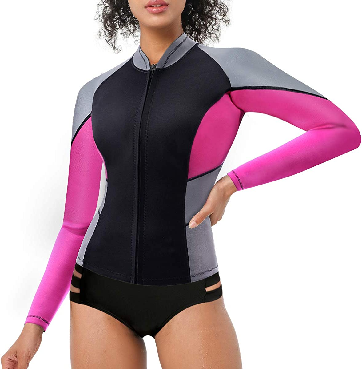 Women/'s Wetsuit Long Sleeve Jacket CtriLady Wetsuit Top Neoprene 1.5mm High-Necked Wetsuits with Front Zipper for Swimming Diving Surfing Boating Kayaking Snorkeling