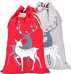 Xiaxiacole 2Pcs Santa Sacks Bags for Kids Extra Large Canvas Santa Bag Reindeer Christmas Sacks Decoration 19.5