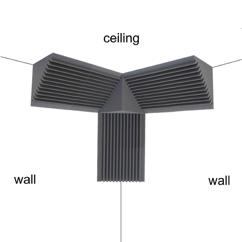 Bass Trap Corner 3 Pack 12''X 12''X 24'' Acoustic Foam Soundproof Studio Wall-1 Corner Block 12''X 12''X 12''