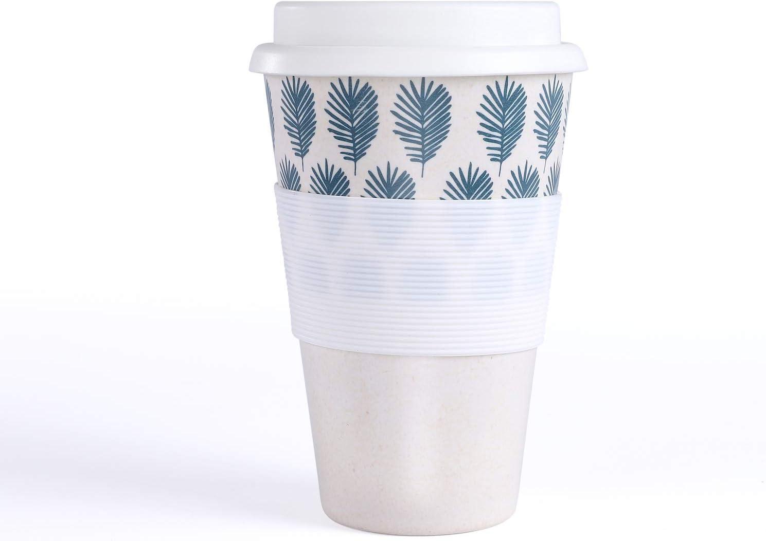 400 ml vaso para beber, viaje o oficina, reutilizable, color blanco Coffee To Go Taza de caf/é de bamb/ú para llevar tapa de silicona con apertura para beber