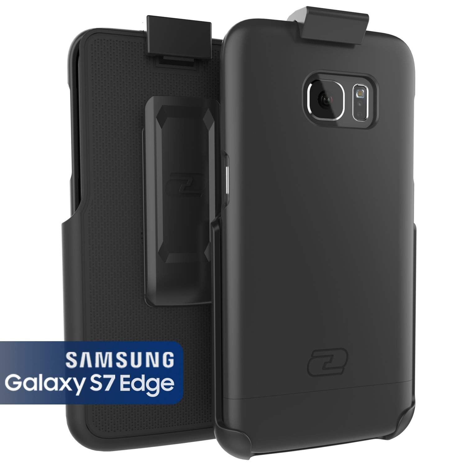 more photos f7ff9 e4d59 Encased Samsung Galaxy S7 Edge Case, Ultra-Thin [SlimSHIELD] Case & Belt  Clip Holster (2016) Ultimate Style + Protection (Smooth Black)