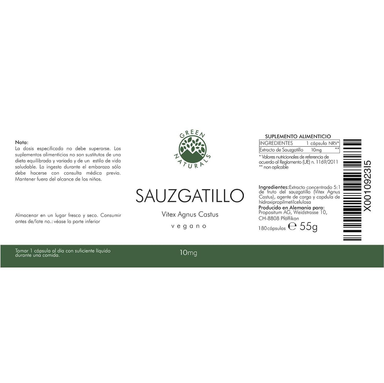 GREEN NATURALS Premium Sauzgatillo - Vitex Agnus Castus - 180 cápsulas á 10mg - Producción alemana - 100% vegano y sin aditivos - 6 meses - Guía eBook