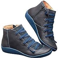 Botas Mujer 2019 Botines Zapatos de Cordones Vintage Otoño Botas Tacón Plano Cómodas Mujeres Botas Cortas con Cremallera…