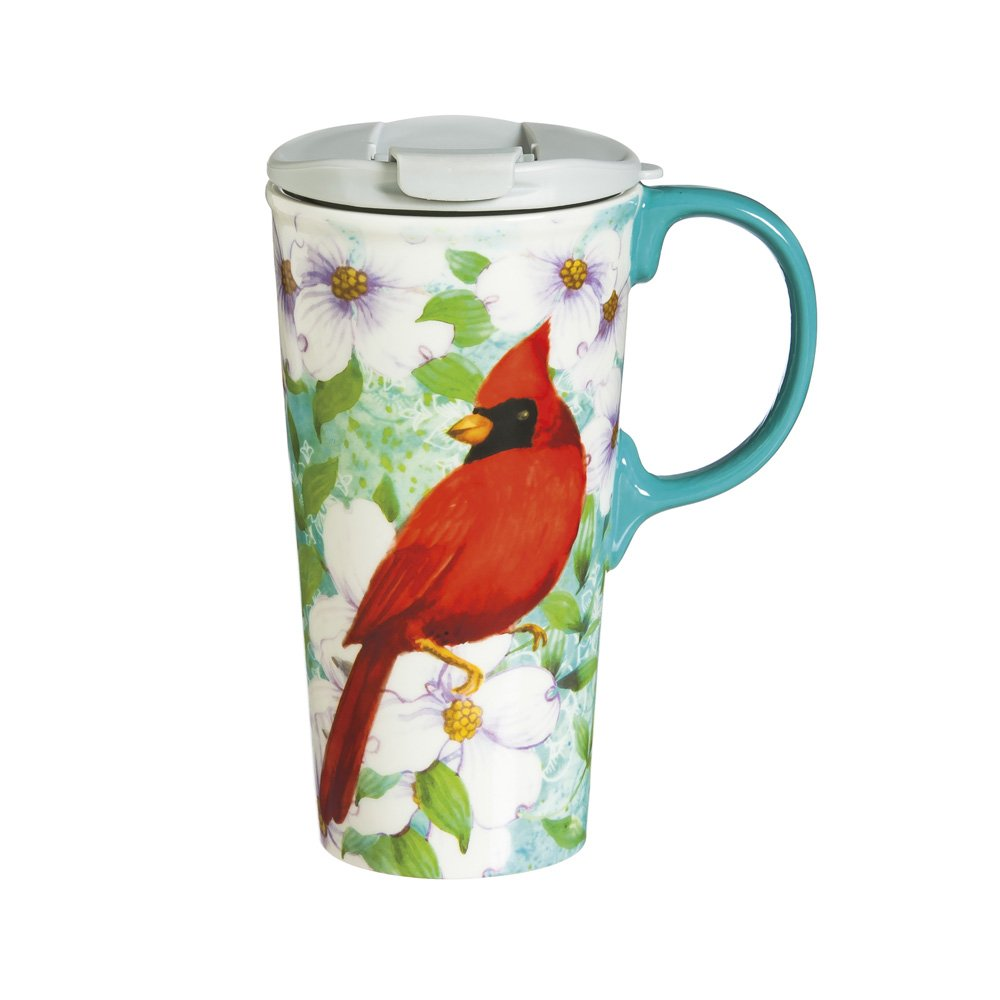 Cypress Home Cardinal Trio Ceramic Travel Coffee Mug, 17 ounces by Cypress Home