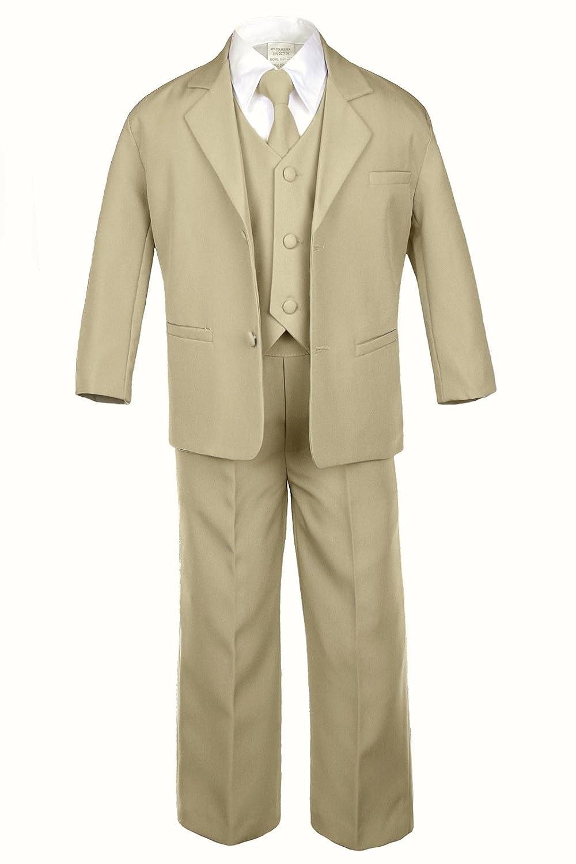 S: 0-6 months Leadertux 5pc Boys Formal Wedding Khaki Vest Necktie Sets Suits Outfits S-20