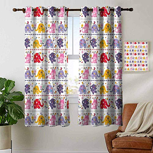 Blackout Curtains 2 Panels Kids,Dancing Floral Elephant Characters Smiling Faces Colorful Daisies Happy Singing Birds,Multicolor,for Room Darkening Panels for Living Room, Bedroom ()
