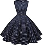 Bbonlinedress 1950s Retro Vintage Swing Rockabilly Floral Party Cocktail Dress Navy Small White Dot S