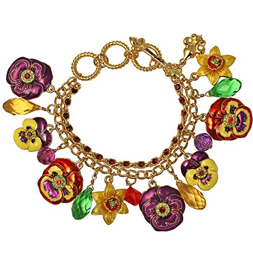 Ritzy Couture Women's Enamel Dangling Ornament Multi Color Pansy Charms Drop and Dangle Toggle Bracelet (Goldtone)