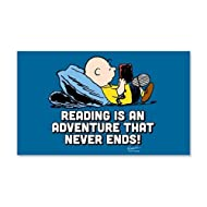 CafePress - Charlie Brown - Reading is an Adv - 20x12 Wall Decal, Vinyl Wall Peel, Reusable Wall Cling