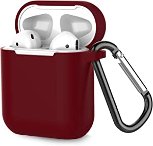 Coffea Protective Silicone Case with Keychain for Apple AirPods 1 & 2 (Front LED Not Visible) (Burgundy)