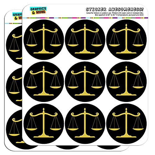 """Balanced Scales of Justice Symbol Legal Lawyer Gold 2"""" Planner Calendar Scrapbooking Crafting Stickers - Opaque"""