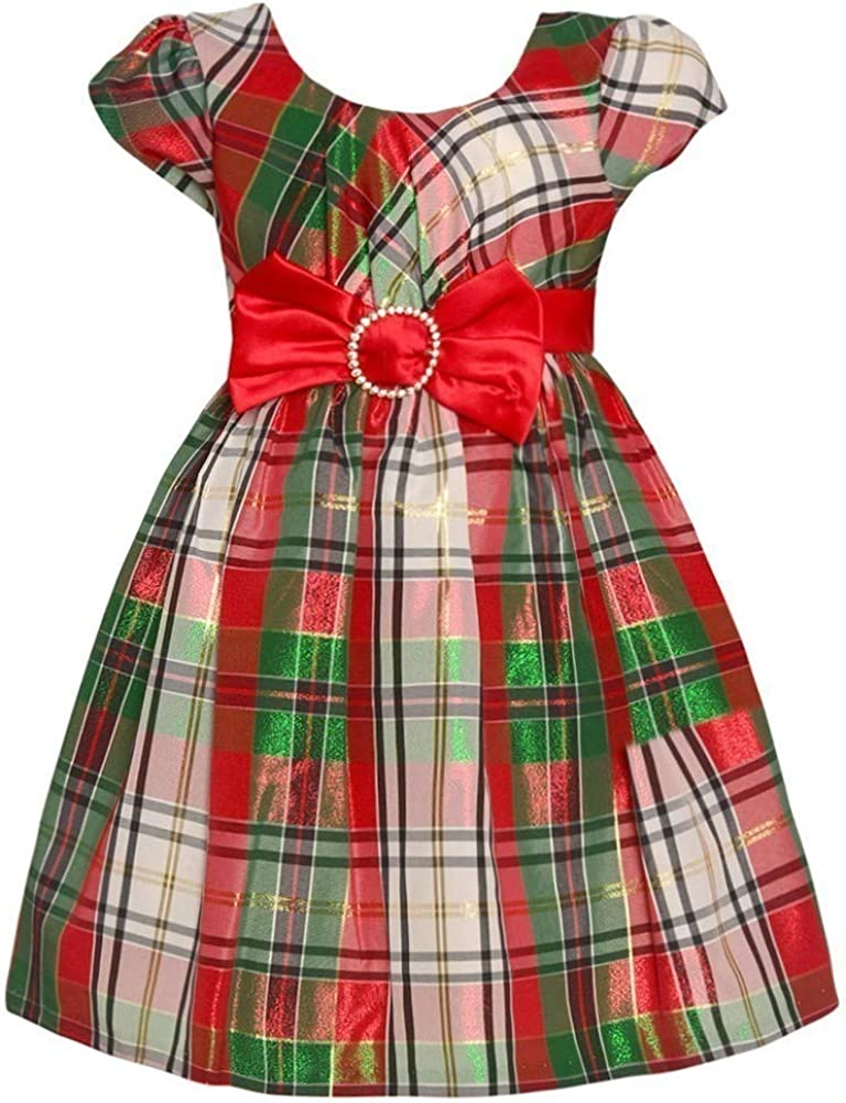 Bonnie Jean Short Sleeve Christmas Dress with Red and White Plaid and Bow at Waist