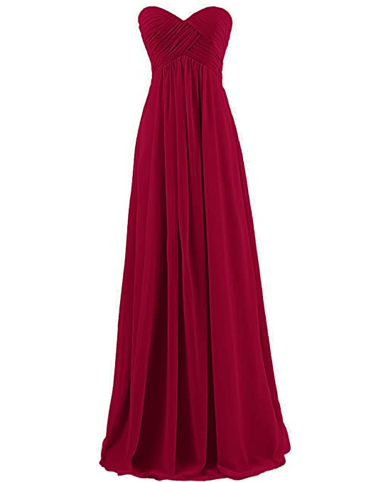 Review Cdress Chiffon Sweetheart Long Bridesmaid Dresses Plus Size Prom Party Formal Gowns