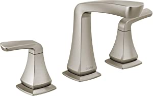 DELTA Vesna Widespread Bathroom Faucet Brushed Nickel, Bathroom Faucet 3 Hole, Drain Assembly, Worry-Free Drain Catch, SpotShield Brushed Nickel 35789LF-SP