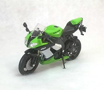 welly kawasaki ninja ZX-10R green and black bike 1.18 scale ...