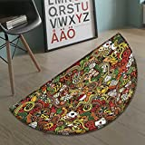 Casino Bath Mat non slip Doodles Style Artwork of Bingo and Cards Excitement Checkers King Tambourine Vegas Customize door mats for home Mat Multicolor size:23.7''x15.8''