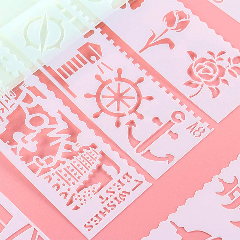 CYJZHEU Pittura Stencil Set 40 Pezzi Plastica Disegno Pittura Modello di Stencil Riutilizzabile per notebook Disegno fai da te Carte regalo Personaggio Artigianato Modello di progetto 17,5 x 26 cm