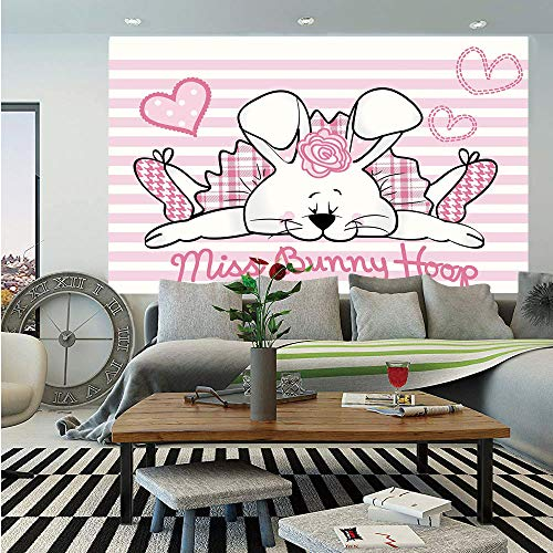 SoSung Girls Removable Wall Mural,Miss Bunny Hoop in Love Romantic Cute Rabbit Valentines Day in Hearts Artwork,Self-Adhesive Large Wallpaper for Home Decor 66x96 inches,Pale Pink White