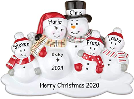 Amazon Com Personalized We Re Expecting With 3 Children Christmas Tree Ornament 2020 Pregnant Snowman Family Love Bump New Baby Coming Shower Boy Girl Gender Neutral 4th Forth Gift Year Free Customization