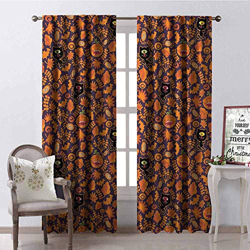 Gloria Johnson Vintage Halloween Blackout Curtain Halloween Themed Elements on a Purple Background Scary Mosters 2 Panel Sets W52 x L72 Inch Dark Purple Orange]()
