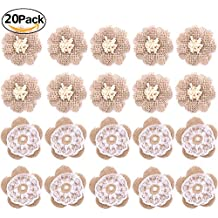 Handmade Burlap Lace Flower Burlap Rose with Pearl for DIY Craft Making and Home Wedding Party Decorations,20 Pieces, Two Style